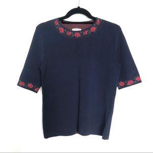 Club Monaco rose knit sweater navy womens